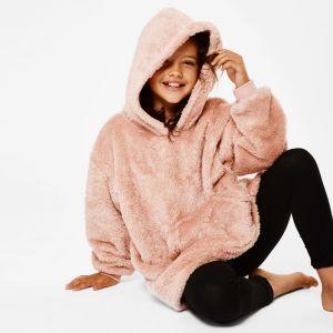 Kids Teddy Hoodie Blanket Blush