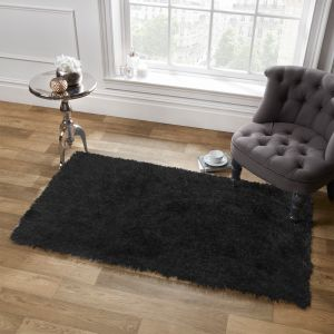 Large Shaggy Soft Floor Rug - Black
