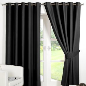 Oxford Blackout Eyelet Curtains Black