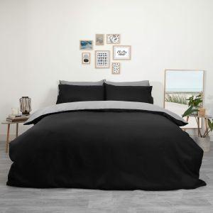 Plain Dye Duvet Set - Black and Grey