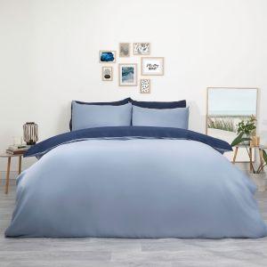Plain Dye Reversible Duvet Set - Navy and Blue