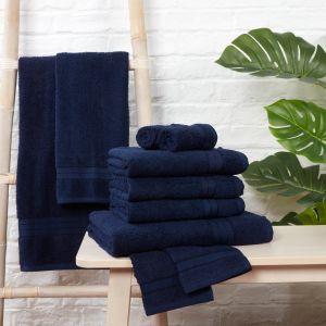 10pc 500gsm Cotton Towel Bale - Navy