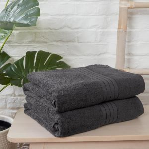 Brentfords 100% Cotton 2 Bath Sheets Towel, Charcoal
