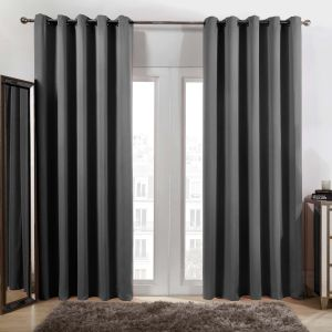 Oxford Blackout Eyelet Curtains Charcoal