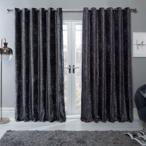 Crushed Velvet Eyelet Curtains - Charcoal Grey
