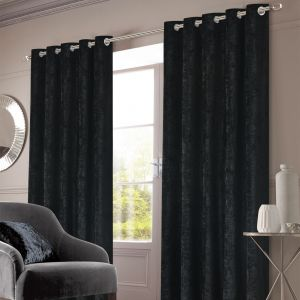 Crushed Velvet Eyelet Curtains - Black