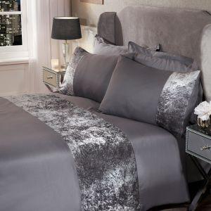 Double Decadent Velvet Stripe Duvet Set - Silver