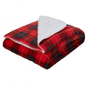 Dreamscene Large Tartan Sherpa Flannel Fleece Throw Blanket