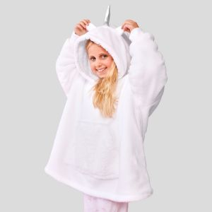 Kids Unicorn Hoodie Blanket White