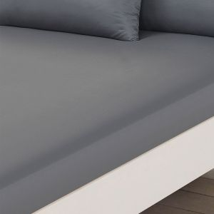 Plain Dye Fitted Sheet - Grey