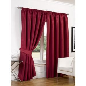 Faux Silk Blackout Curtains - Red