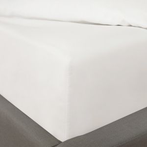 100% Cotton Fitted Bed Sheet, Plain Dye White