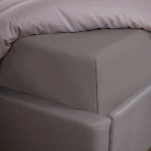 100% Cotton Fitted Bed Sheet, Plain Dye Grey