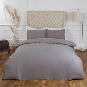 Plain 100% Cotton Duvet Cover with Pillow Case Bedding Set, Grey