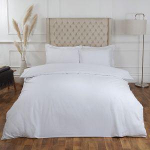 100% Cotton Duvet Cover with Pillow Case Bedding Set, White