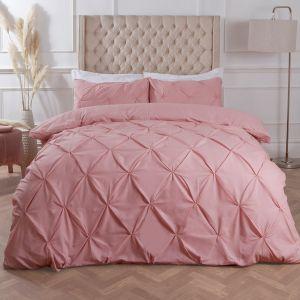 Diamond Pleat Duvet Cover Set - Blush Pink