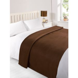 120X150Cm Dover Plain Fleece Throw Chocolate