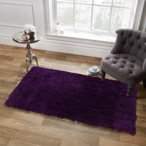 Large Shaggy Soft Floor Rug - Plum Purple