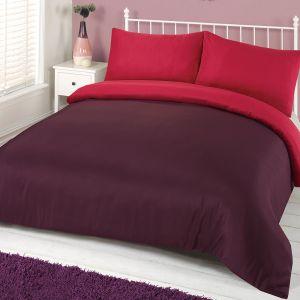 Brentfords Plain Dyed Duvet Cover Set - Purple Pink