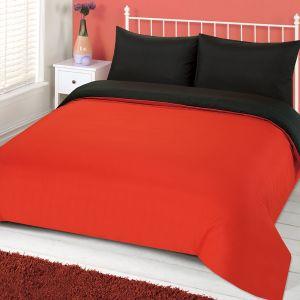 Brentfords Plain Dyed Duvet Cover Set - Red Black