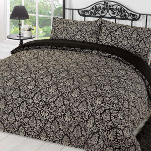 Damask Duvet Cover Set - Black/Grey