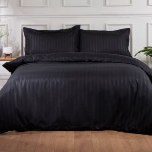 Hotel Stripe Duvet Set - Black