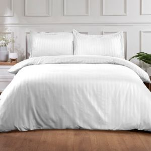Hotel Stripe Duvet Set - White