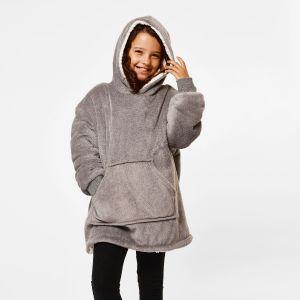 Kids Fleece Sherpa Hoodie Blanket Charcoal