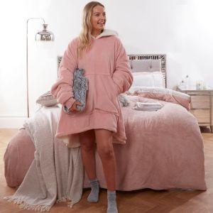 Reversible Sherpa Hoodie Blanket Blush