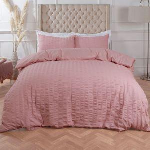 Ruffle Stripe Bedding Set - Blush Pink