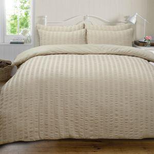 Ruffle Stripe Bedding Set - Stone