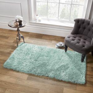 Large Shaggy Soft Floor Rug - Duck Egg Blue