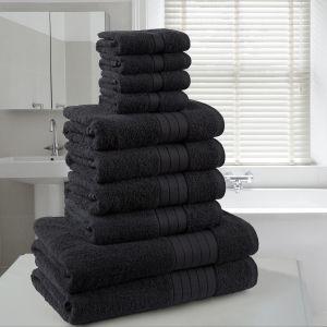 10pc 500gsm Cotton Towel Bale - Black