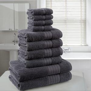 10pc 500gsm Cotton Towel Bale - Charcoal