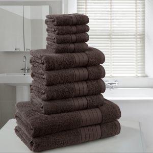 10pc 500gsm Cotton Towel Bale - Chocolate