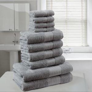10pc 500gsm Cotton Towel Bale - Grey