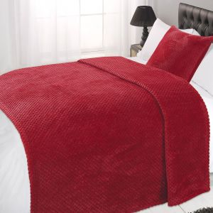 Waffle Mink Throw - Red