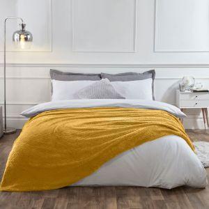 Textured Knit Throw - Yellow