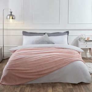 Textured Knit Throw - Blush Pink