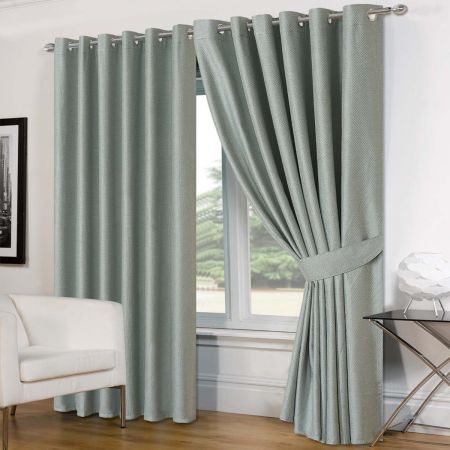 Luxury Basket Weave Lined  Eyelet Curtains with Tiebacks - Duck Egg 46