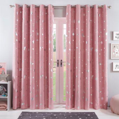 Eyelet Stars Curtains Pink