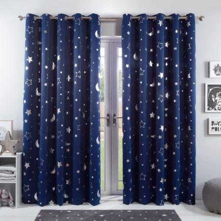 Eyelet Stars Curtains Navy