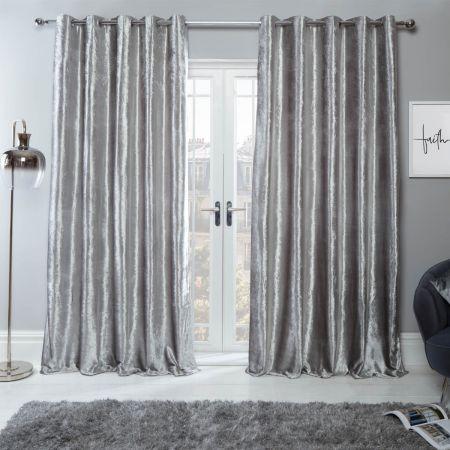 Crushed Velvet Eyelet Curtains - Silver