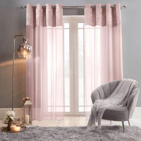 Sienna Crushed Velvet Voile Net Curtains Eyelet, Blush Pink - 55