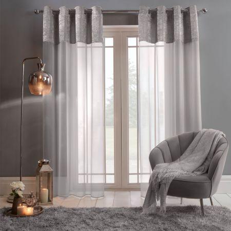 Sienna Crushed Velvet Voile Net Curtains Eyelet, Silver Grey - 55