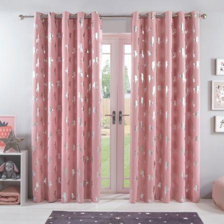 Dreamscene Unicorn Eyelet Blackout Curtains - Pink
