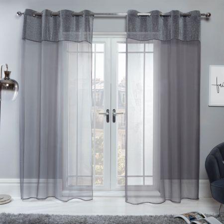 Sienna Amelia Lurex Voile Net Curtains Eyelet, Charcoal Grey - 55