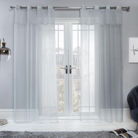 Sienna Amelia Lurex Voile Net Curtains Eyelet, Silver Grey - 55