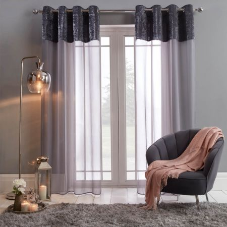 Sienna Crushed Velvet Voile Curtains, Charcoal - 55