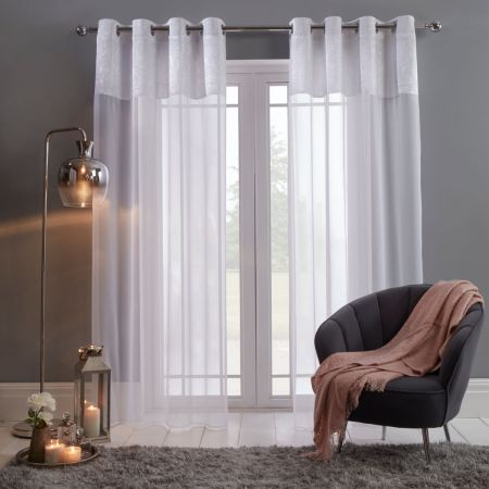Sienna Crushed Velvet Voile Curtains, White - 55